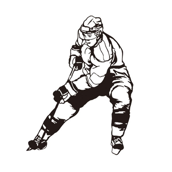 Ice Hockey Sportman Pattern Self-stick Wall Sticker Artificial Decal for Bedroom