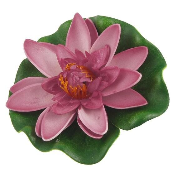 "3.7"" Dia Artifical Amaranth Lotus Green Leaf Plant Decor for Aquarium. Opens flyout."
