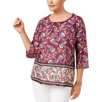 NY Collection Womens Plus Blouse Printed Off-The-Shoulder