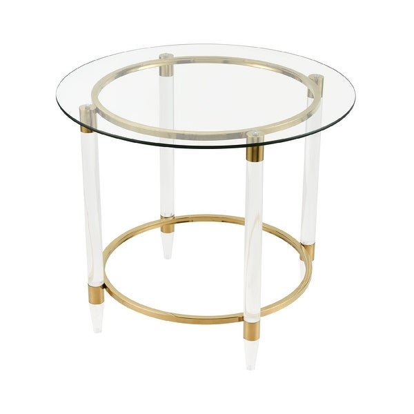 """28"""" Gold Metal and Acrylic Stand with Clear Glass Round Accent Table - N/A"""