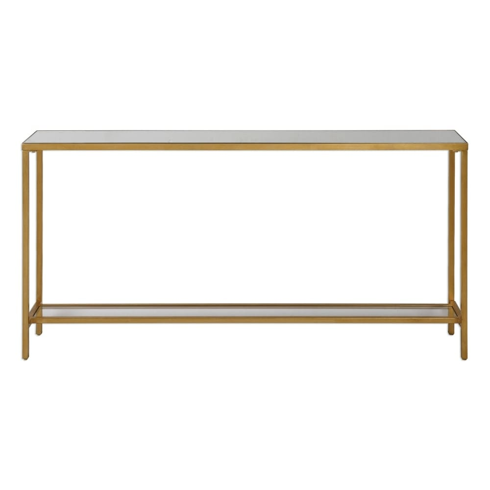 newest 8b9da a0d76 Uttermost 24685 Hayley 60 Inch Wide Metal Console Table with Mirrored Top  and Gl - antiqued gold leaf