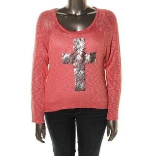 Material Girl Womens Juniors Pullover Sweater Foiled Cross Slub Knit - S