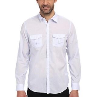 Calvin Klein CK Mens Pale Indigo Striped Long Sleeve Shirt Medium