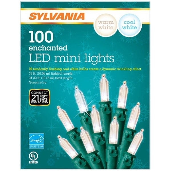 Sylvania V42090-71 Christmas LED Light Set, Green Wire