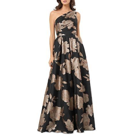 Carmen Marc Valvo Womens Formal Dress Metallic Floral Mesh Inset - Black