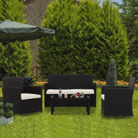 Zenova Outdoor Furniture Set 4 Pieces Rattan Wicker Sofa Waterproof