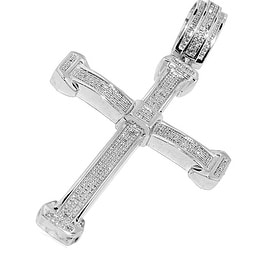Mens Diamond Cross Charm 0.97cttw Pave Set Diamonds 65mm Tall By MidwestJewellery - White