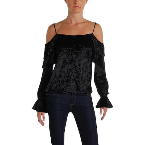 Aqua Womens Pullover Top Velvet Cold Shoulder