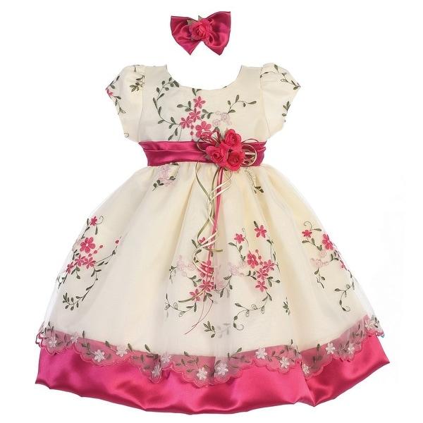 7ecce9e6545a1 Baby Girls Fuchsia Ivory Print Sash Short Sleeves Flower Girl Dress