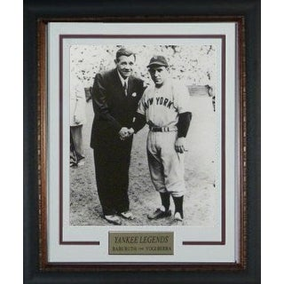 Yogi Berra unsigned New York Yankees Vintage B&W 11X14 Photo Custom Framed V Groove Matting w/ Babe Ruth