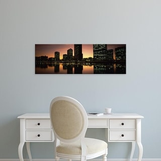 Easy Art Prints Panoramic Images's 'Buildings lit up at dusk, Oakland, Alameda County, California, USA' Canvas Art