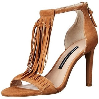 French Connection Womens Lilyana Suede T-Strap Dress Sandals