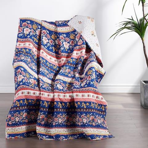 Greenland Home Fashions Marsha Cotton-Rich Reversible Throw Blanket