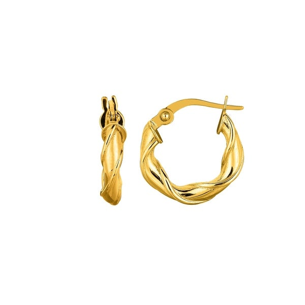 Mcs Jewelry Inc 14 KARAT YELLOW GOLD TWISTED ROUND HOOP EARRINGS (DIAMETER: 15MM)