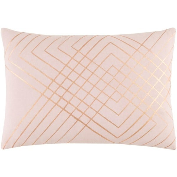 "19"" Rose Pink and Bronze Decorative Throw Pillow-Down Filler"