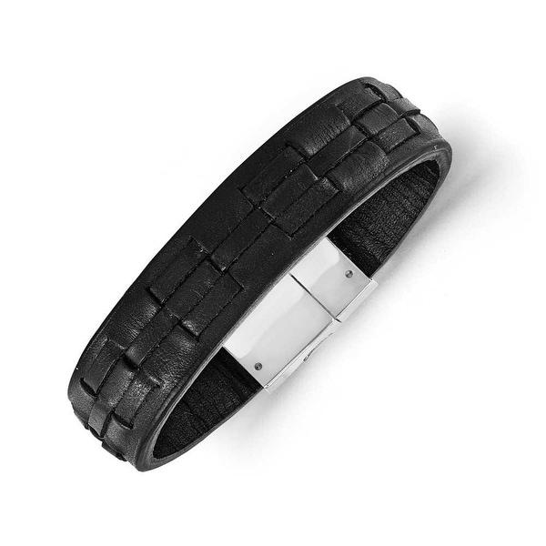 Chisel Stainless Steel Polished Black Leather Bracelet