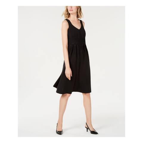ALFANI Black Sleeveless Below The Knee Fit + Flare Dress Size 16
