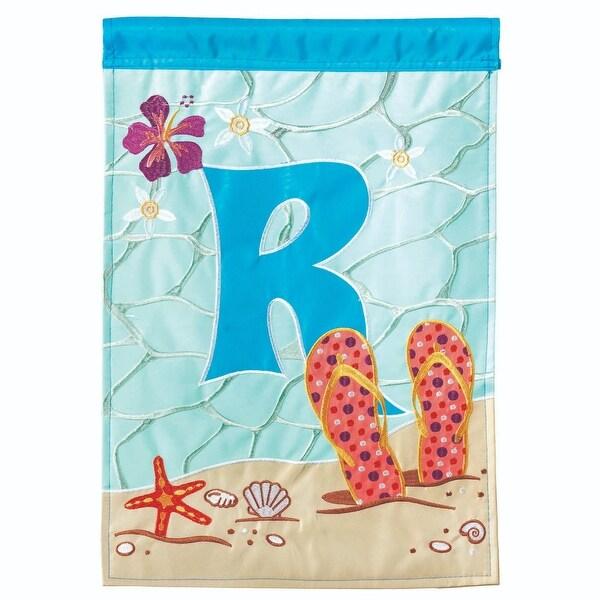 "Sky Blue and Orange Sea Theme ""R"" Printed Rectangular Garden Flag 18"" x 13"" - N/A"