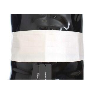 Dolce & Gabbana Dolce & Gabbana White Smoking Belt Silk Cummerbund