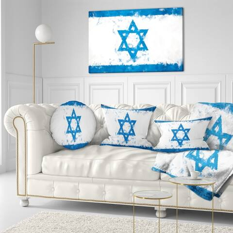 Designart 'Israel Flag' Flag Canvas Print