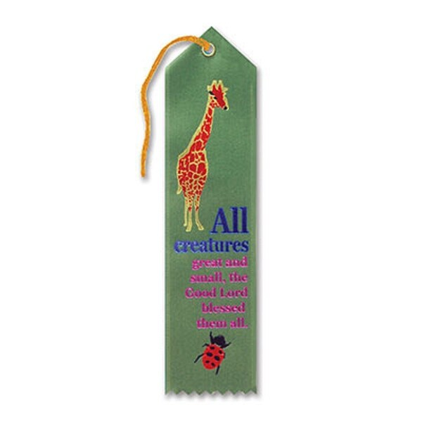 """Pack of 6 Green """"All Creatures Great and Small Award"""" Decorative Award Ribbon Bookmarks 8"""" - N/A"""