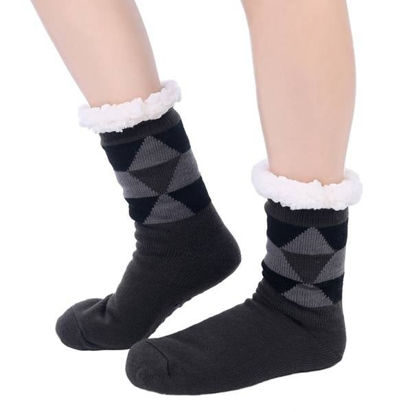 Mad Style Dark Grey Fleece Argyle Cozy Socks - Dark Grey