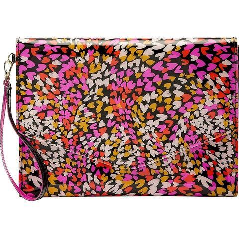 Ted Baker Womens Dalileh Multi Color Heart Print Clutch Handbag