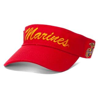Marines Script Emblem Red Adjustable Visor|https://ak1.ostkcdn.com/images/products/is/images/direct/22a2a388d663a1906115e6461e55b3f03ef040ae/Marines-Script-Emblem-Red-Adjustable-Visor.jpg?impolicy=medium