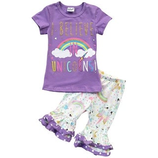 """""""I  BELIEVE IN UNICORNS"""" Pants Set for Little Girl Lilac 201275"""