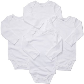 Carter's Baby Unisex 4-pack Long Sleeve Bodysuits - White - 24 Months