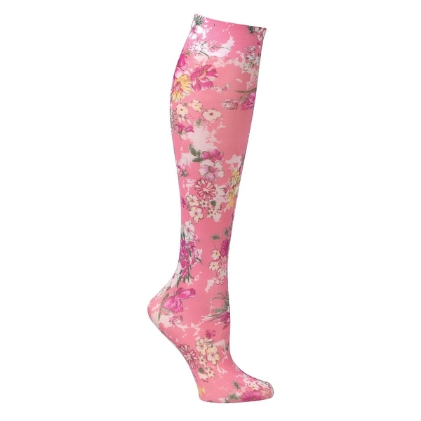 Women's Printed Mild Compression Wide Calf Knee Highs - Coral Bouquet - Medium