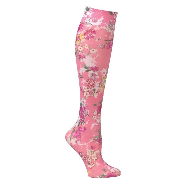 Women's Printed Moderate Compression Knee Highs - Coral Bouquet - Medium