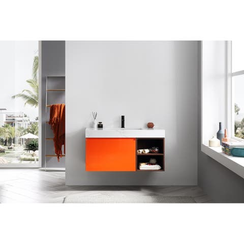 "MANAROLA 42"" Red Amber Wall Mount Modern Bathroom Vanity Set"