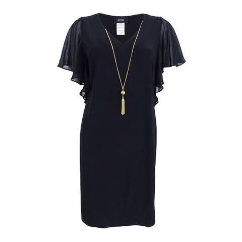 Msk Women's Flutter-Sleeve Tassel Necklace Dress - Black