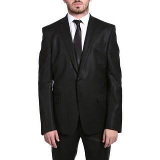 Versace Collection Men's Wool Cotton Blend Solid Two-piece Suit Black