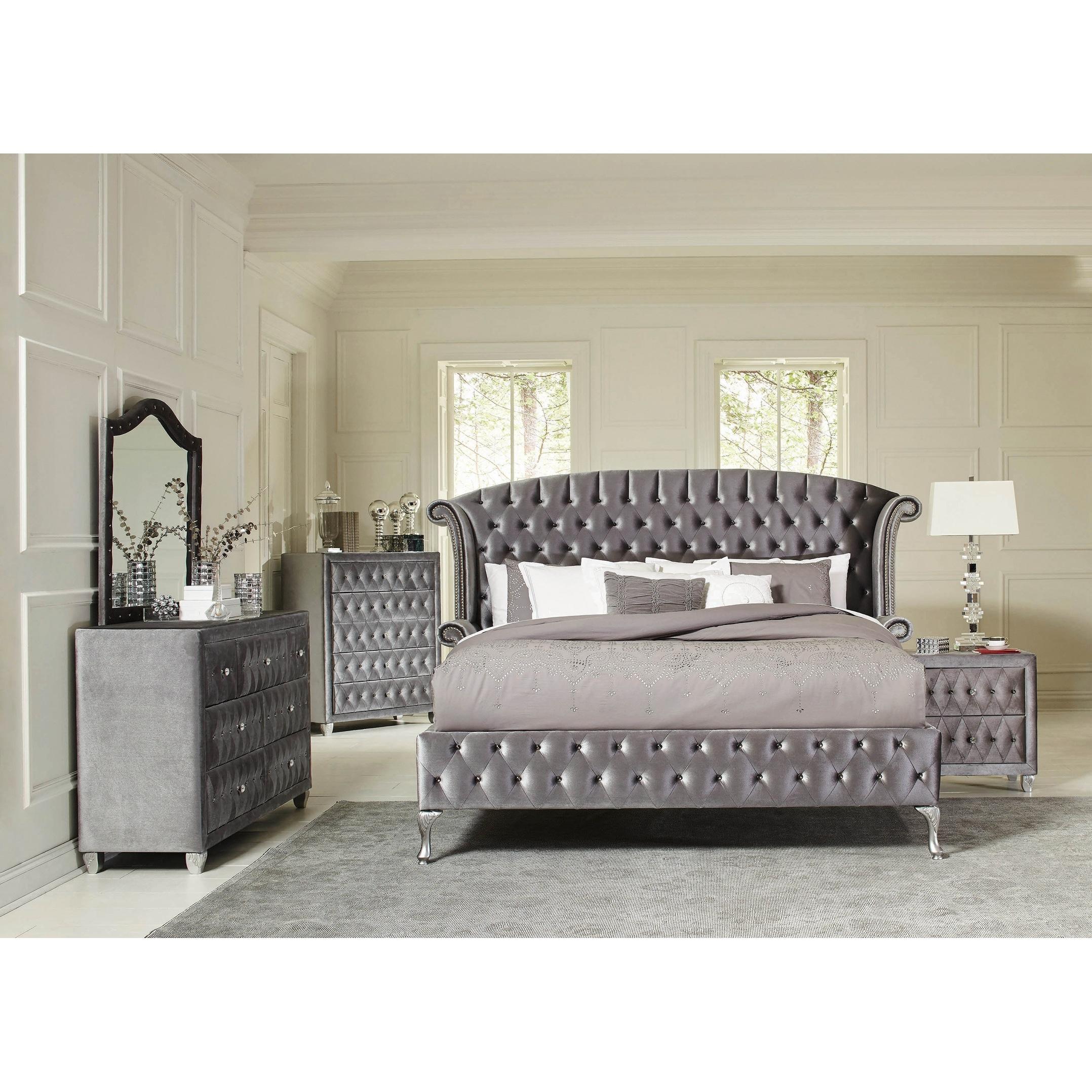 Audrey Grey 5-piece Upholstered Bedroom Set