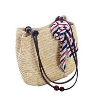Straw Tote with Wooden Beads - Beige