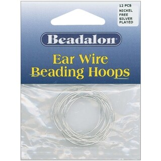 Ear Wire Beading Hoops Large 30mm 12/Pkg-Silver-Plated & Nickel-Free - Silver