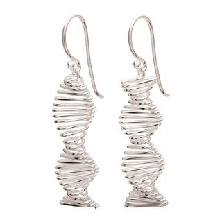 """Women's Sterling Silver Spiral Helix Earrings - Hang 1"""" - French Hook Wires"""