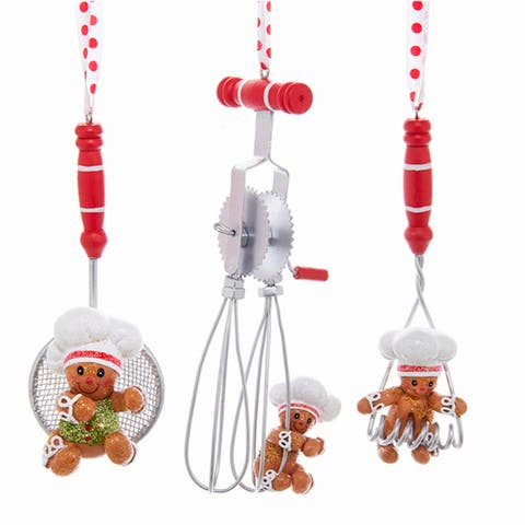 Kurt Adler Gingerbread Chef and Kitchen Utensils Holiday Ornaments Set of 3