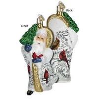 """5"""" Old World Christmas Cardinal Father Christmas Glass Ornament #40218"""