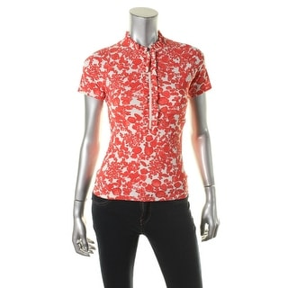Tory Burch Womens Floral Print 1/2 Zip Blouse - S