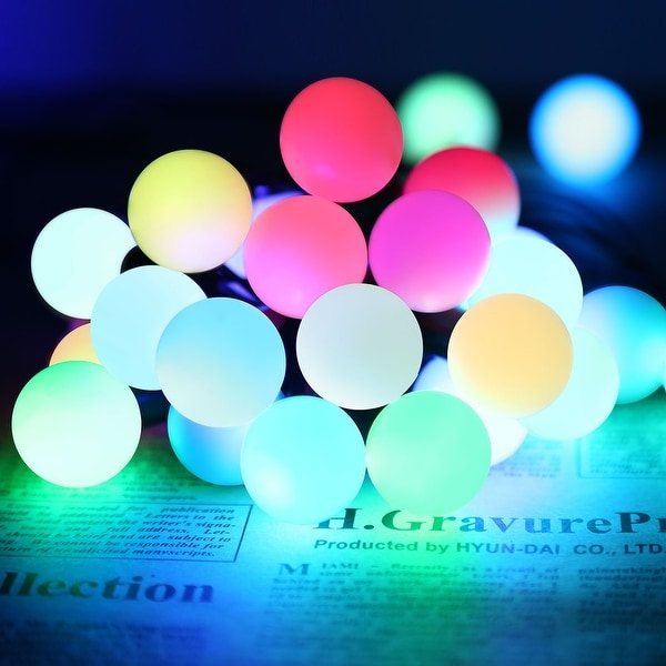 Automatic Color Changing RGB Ball LED String Lights, 20ft 50 LEDs Globe Ball Fairy Christmas Lights