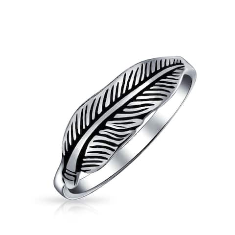 Native American Style Boho Feather Leaf Band Ring 925 Sterling Silver