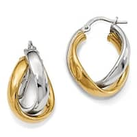 Italian Sterling Silver Gold-tone Rhodium Plated Earrings
