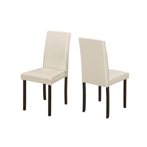 """Offex 2 Piece Contemporary Dining Chair - 36""""H Ivory Leather Look - 18""""L x 22""""W x 36""""H"""