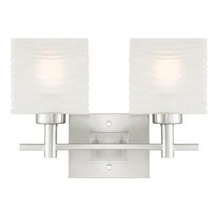 "Westinghouse 6303900 Alexander 16"" Wide 2 Light Bathroom Vanity Light with Glass Shades - Brushed nickel"