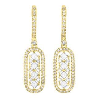 Prism Jewel 0.87 TDW G-H/SI1 & I1 Natural Diamond Oval Shape Drop Dangle Earring