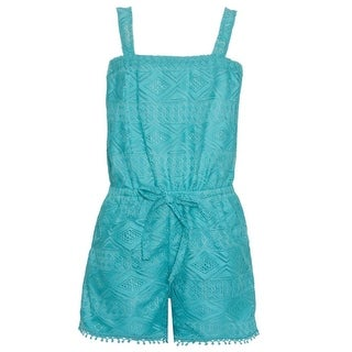 Real Love Little Girls Turquoise Lace Tie Sleeveless Casual Jumper