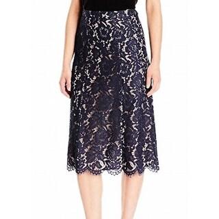Anne Klein NEW Blue Indigo Women Size 8 Lace Scallop Midi Pencil Skirt